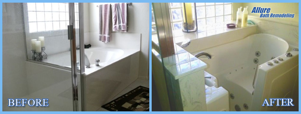 Before and after Handicap Bathroom conversions for seniors in phoenix & Scottsdale az