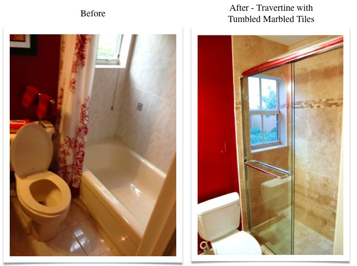 Travertine Transformation Bathroom Remodel
