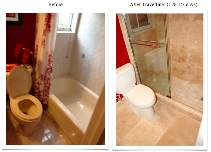 whole bathroom remodel-travertine